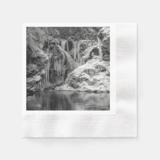 Servilletas De Papel Cascada sangrada congelada blanco y negro de la