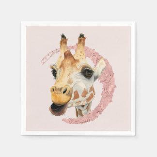"""Servilletas De Papel """"Chew"""" pintura de la acuarela de 3 jirafas"""