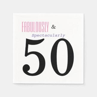 Servilletas de papel cincuenta de cumpleaños de la