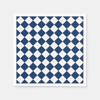 Servilletas de papel con un modelo azul y blanco