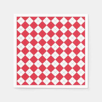 Servilletas de papel con un modelo rojo y blanco