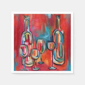Servilletas De Papel Copas de vino y botellas