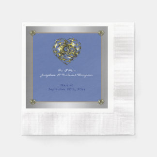 Servilletas De Papel Corazón del boda del azul y del oro