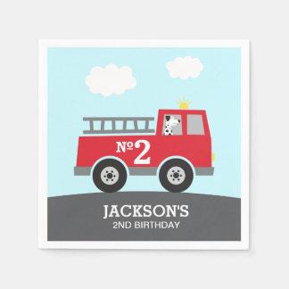 Servilletas De Papel Cumpleaños rojo del coche de bomberos