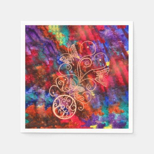 Servilletas de papel de cordón de la mariposa