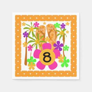 Servilletas de papel del 8vo cumpleaños de Luau