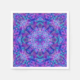 Servilletas de papel del caleidoscopio púrpura