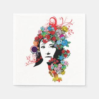 Servilletas de papel del chica floral
