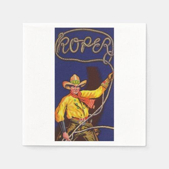 Servilletas de papel del cordelero del vaquero