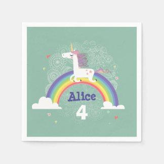 Servilletas de papel del cumpleaños del unicornio