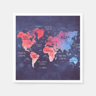 servilletas de papel del mapa del mundo