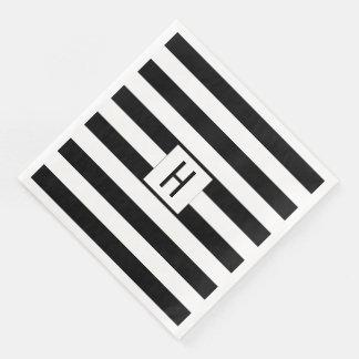 Servilletas de papel del monograma blanco y negro