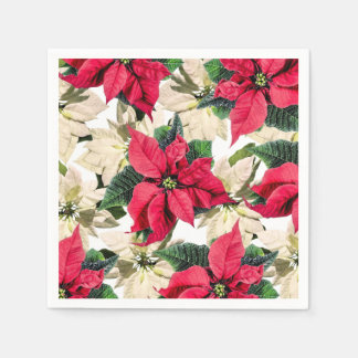 Servilleta Desechable Servilletas de papel del Poinsettia rojo y blanco