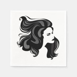 Servilletas de papel del retrato de la mujer