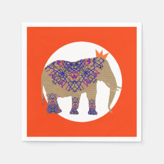 Servilletas De Papel Diversión adornada linda rústica del elefante de