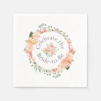 Servilletas De Papel Ducha nupcial del anillo floral de la acuarela
