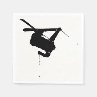 Servilletas De Papel Esquiador negro y blanco