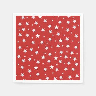 Servilletas De Papel Estrellas del blanco en rojo