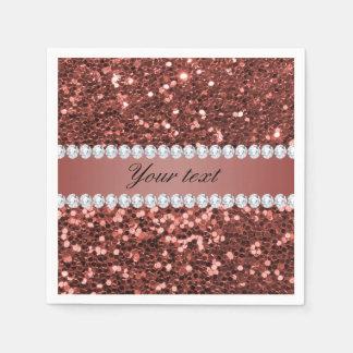 Servilletas De Papel Falso brillo y diamantes del oro color de rosa