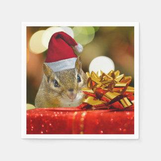 Servilletas De Papel Felices Navidad del Chipmunk lindo
