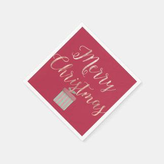 Servilletas De Papel Felices Navidad del oro color de rosa