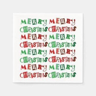 Servilletas De Papel Felices Navidad rojas y verdes de la diversión
