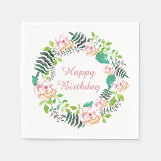 Servilletas De Papel Feliz cumpleaños de la guirnalda floral rosada del