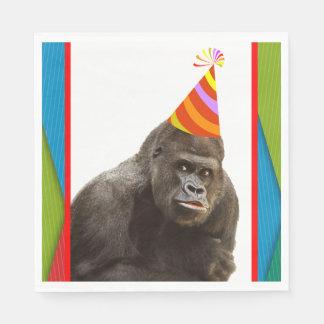Servilletas De Papel Fiesta como un gorila animal con cumpleaños del