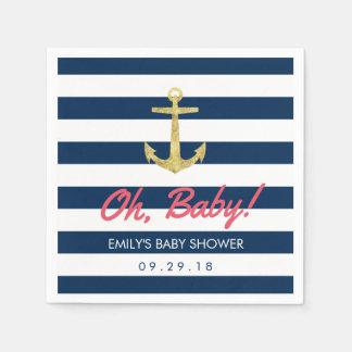 Servilletas De Papel Fiesta de bienvenida al bebé náutica de las rayas