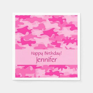 Servilletas De Papel Fiesta rosado del feliz cumpleaños del camuflaje