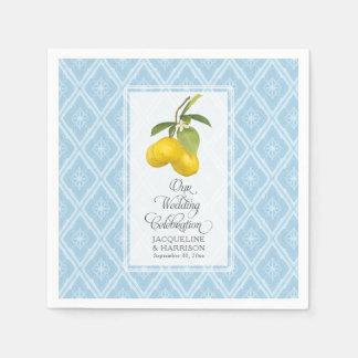 Servilletas De Papel Fruta cítrica blanca del limón de los azules