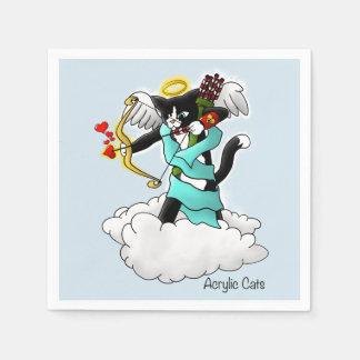 Servilletas De Papel Gato del Cupid del smoking del el día de San