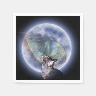 Servilletas De Papel Gato que mira para arriba el ojo de la luna del