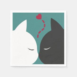 Servilletas De Papel Gatos románticos simples en servilleta del amor el
