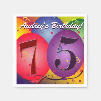 Servilletas De Papel ¡Globos coloridos del cumpleaños para el 75.o