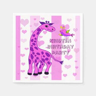 Servilletas De Papel Ilustracion de la jirafa en color rosado