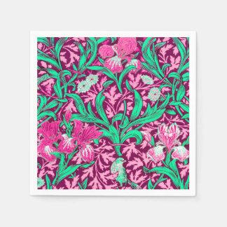 Servilletas De Papel Iris de William Morris, rosa fucsia y vino
