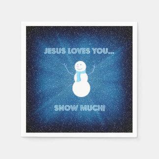 Servilletas De Papel ¡Jesús le ama nieva mucho! Azul cristiano del