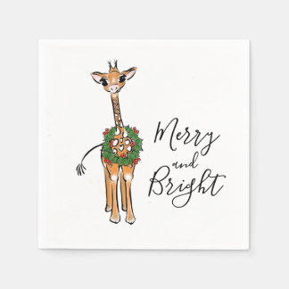 Servilletas De Papel Los Navidad Felices y brillantes de la jirafa del