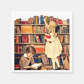 Servilletas De Papel Los niños del vintage que leen la biblioteca