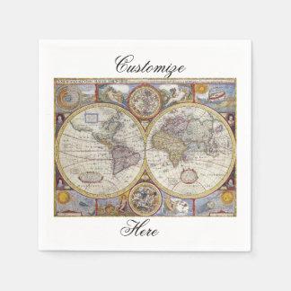 Servilletas De Papel Mapa Thunder_Cove del vintage del viajero de mundo