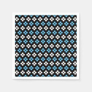 Servilletas De Papel Modelo elegante de Argyle del azul y del blanco de