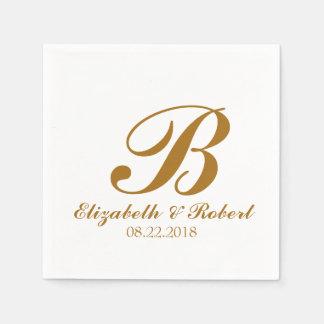 Servilletas De Papel Monograma blanco del boda del oro