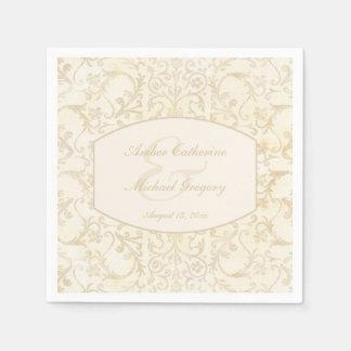 Servilletas De Papel Nata floral del damasco y boda beige