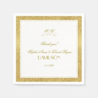 Servilletas De Papel Oro elegante y boda blanco de la tarde de la