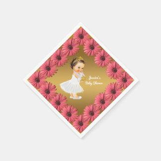 Servilletas De Papel Oro floral de las margaritas de la princesa fiesta