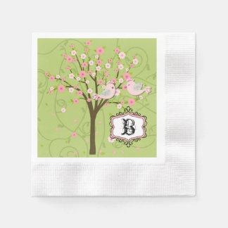Servilletas De Papel Pájaros de la flor de cerezo que casan las