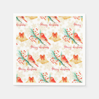Servilletas De Papel Pájaros del rojo del navidad