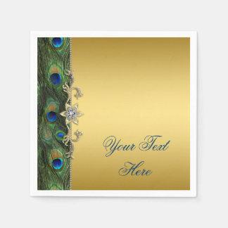 Servilletas De Papel Pavo real elegante del verde azul real y del oro