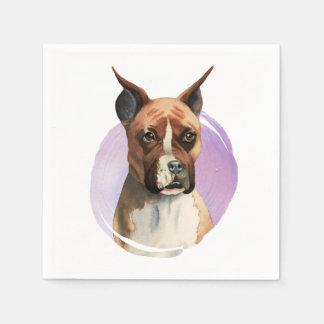 Servilletas De Papel Pintura de la acuarela del perro del boxeador